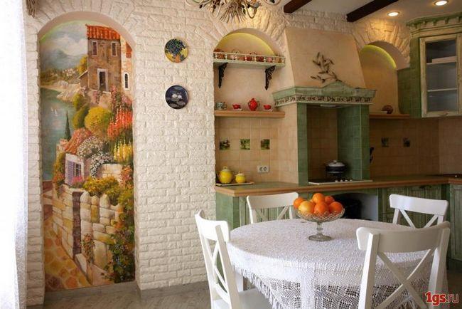 дизайн кухни с фотообоям фото