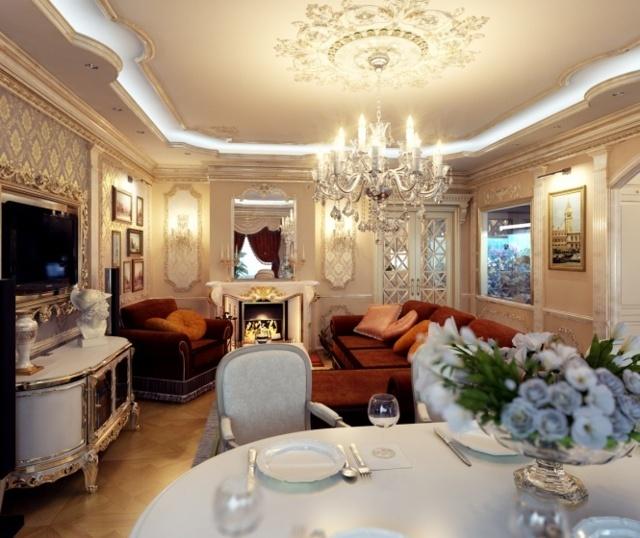 Как красиво оформить интерьер кухни гостиной в классическом стиле