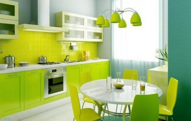 Кухня в зелёном цвете