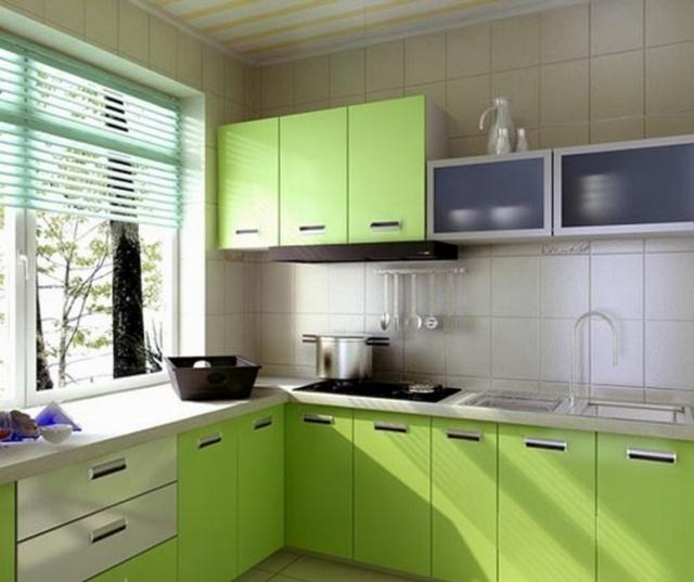 Салатовый цвет кухни в интерьере