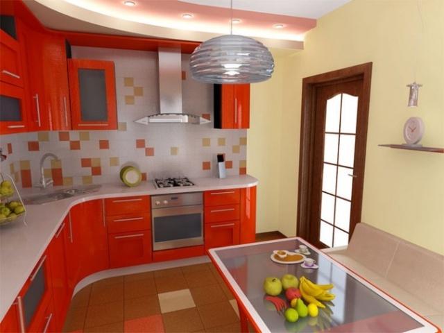 Сочетание оранжевого цвета с другими цветами в интерьере кухни