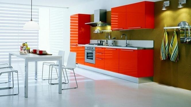 Апельсиновый цвет на кухне фото