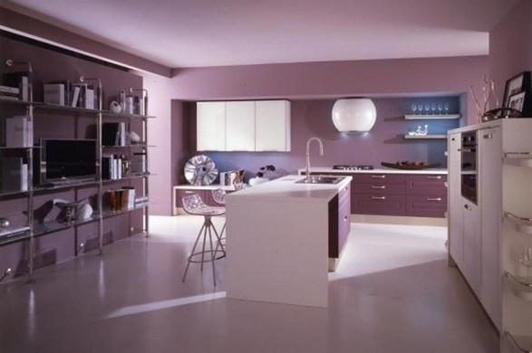 С каким цветом сочетается сиреневый цвет в интерьере кухни