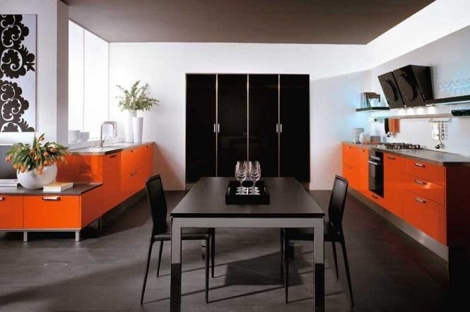 Сочетание коричневого и оранжевого в интерьере