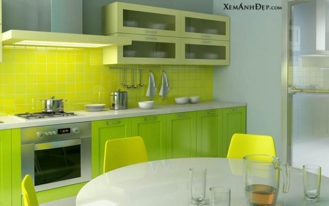 Интерьер кухни салатового цвета фото
