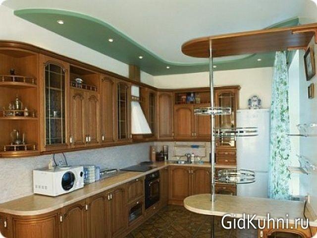Дизайн потолка помещения кухни
