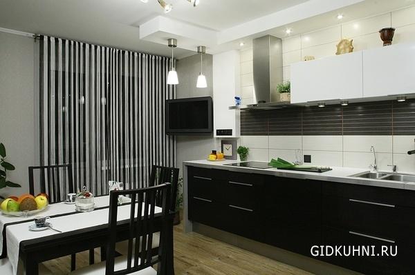Фото интерьера черно-белой кухни