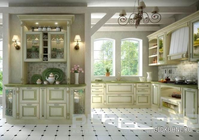 кухня в стиле прованс с камином