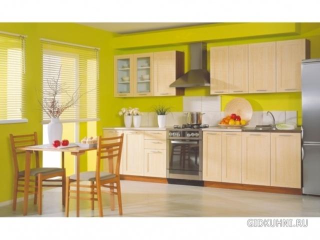 Кухня с зелеными обоями дизайн