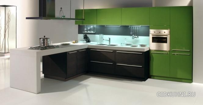 Современная зеленая кухня фото