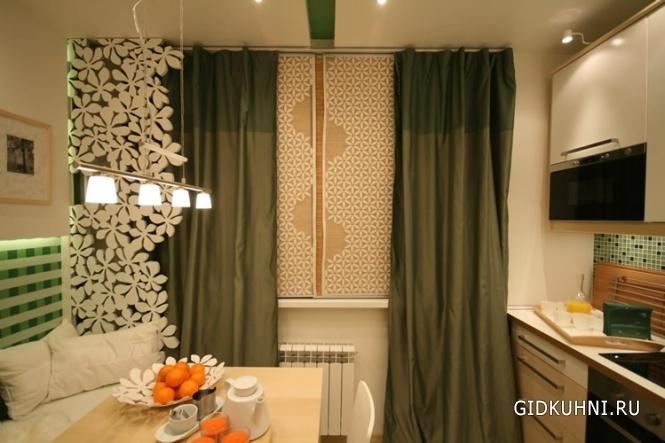 Плотные шторы на кухне